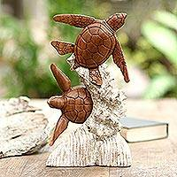 Wood sculpture, 'Turtles and Coral' - Handmade Suar Wood Turtle Sculpture from Bali