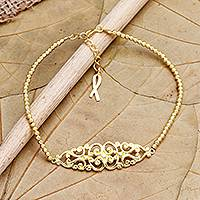 Gold-plated pendant bracelet, 'Tangled' - Hand Made Gold-Plated Sterling Silver Pendant Bracelet