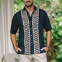 Batik cotton men's shirt, 'Batik Boat' - Artisan Crafted Button-Up Short Sleeve Men's Batik Shirt