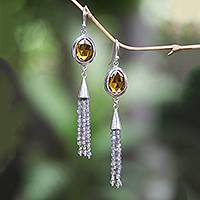 Labradorite and citrine dangle earrings, 'Sunshine Days' - Handmade Labradorite and Citrine Dangle Earrings