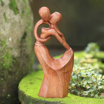 Wood statuette, 'Ever After' - Hand Carved Suar Wood Romantic Sculpture