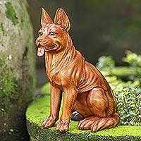 Wood sculpture, 'Good Dog' - Hand Carved Suar Wood Dog Sculpture from Bali
