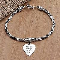 Sterling silver charm bracelet, 'Always in Silver' - Hand Made Sterling Silver Heart Charm Bracelet