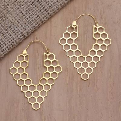 Gold-plated drop earrings, 'Bee House' - Hand Crafted Balinese Gold-Plated Brass Drop Earrings