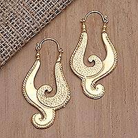 Gold-plated drop earrings, 'Beautiful Music' - Balinese-Style Gold-Plated Brass Drop Earrings