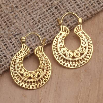 Gold-plated hoop earrings, Mermaid Play