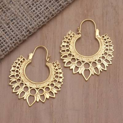 Gold-plated hoop earrings, 'Sunwave' - Hand Crafted Balinese Gold-Plated Brass Hoop Earrings