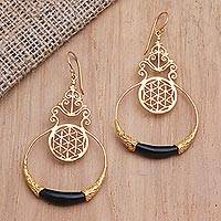 Gold-plated dangle earrings, 'Golden Midnight' - Balinese 18k Gold-Plated Brass Dangle Earrings