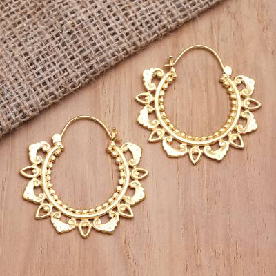Gold-plated hoop earrings, 'Smiling Heart' - Hand Crafted Gold-Plated Brass Hoop Earrings from Bali