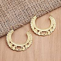 Gold-plated hoop earrings, 'Golden Apple' - Hand Crafted Gold-Plated Hoop Earrings from Bali