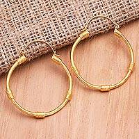 Gold-plated hoop earrings, 'Waterway' - Hand Made Gold-Plated Hoop Earrings from Bali