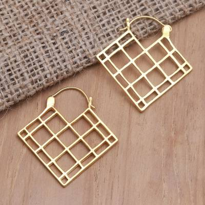 Gold-plated drop earrings, 'Hungry Heart' - Hand Crafted Balinese Gold-Plated Brass Drop Earrings