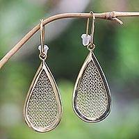 Gold-plated dangle earrings, 'Golden Pear' - Gold-Plated Brass and Polyester Dangle Earrings