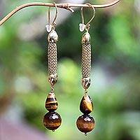 Gold-accented tiger's eye dangle earrings, 'Golden Tiger' - Gold-Accented Tiger's Eye Dangle Earrings