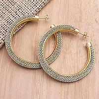 Gold-plated brass half-hoop earrings, 'Golden Nest' - Gold-Plated Brass and Polyester Mesh Half-Hoop Earrings