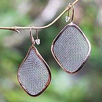 Rose gold-plated brass dangle earrings, 'Rosy Leaves' - Rose Gold-Plated Brass and Polyester Mesh Dangle Earrings