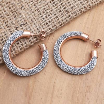 Rose gold-plated half-hoop earrings, Rosy Rounds