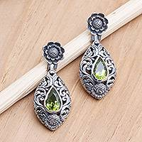 Peridot dangle earrings, 'Spring Grass' - Peridot and Sterling Silver Floral-Motif Dangle Earrings
