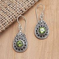 Peridot dangle earrings, 'Ancient Door' - Sterling Silver and Peridot Dangle Earrings