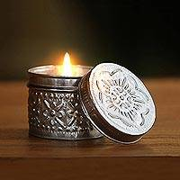 Aluminum tinned candle, 'Soft Light' - Eco-Friendly Beeswax Floral-Themed Candle
