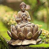 Wood sculpture, 'Buddha of Kindness' - Artisan Crafted Hibiscus Wood Buddha Sculpture
