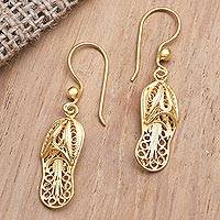Gold-plated filigree dangle earrings, 'Golden Slipper' - Gold-Plated Shoe-Themed Dangle Earrings