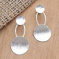 Sterling silver drop earrings, 'Sweet Friendship' - Textured Sterling Silver Drop Earrings