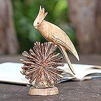 Wood statuette, 'Single Cockatoo' - Hand Crafted Jempinis Wood Cockatoo Statuette