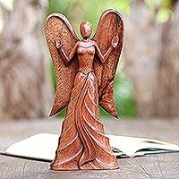 Wood statuette, 'Angel in Heaven' - Hand Carved Suar Wood Angel Statuette