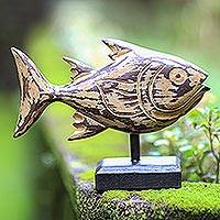 Wood statuette, 'Snapper Fish' - Albesia Wood Snapper Fish Statuette