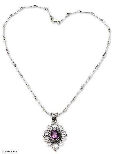 Indonesian Amethyst Sterling Silver Necklace