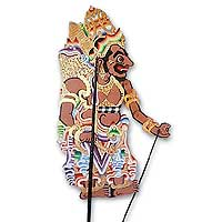 Leather shadow puppet, 'Rahwana the Ogre' - Cultural Leather Decorative Shadow Puppet