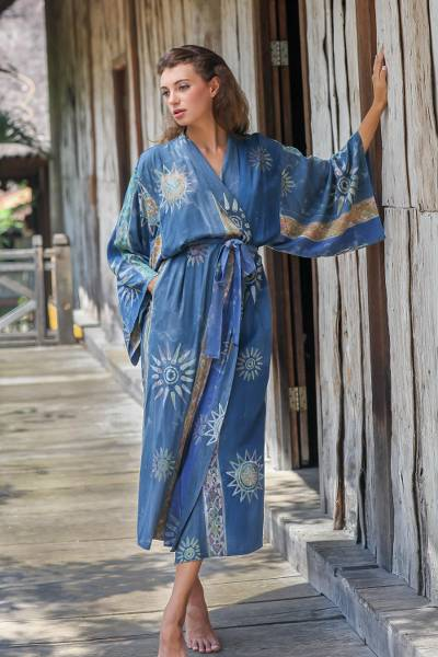 Women's batik robe, 'Midnight in Blue' - Women's Handcrafted Batik Robe