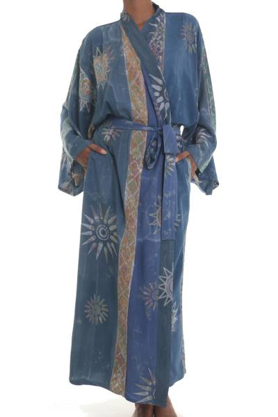 Handcrafted Blue Batik Sun Patterned One Size Fits All Robe