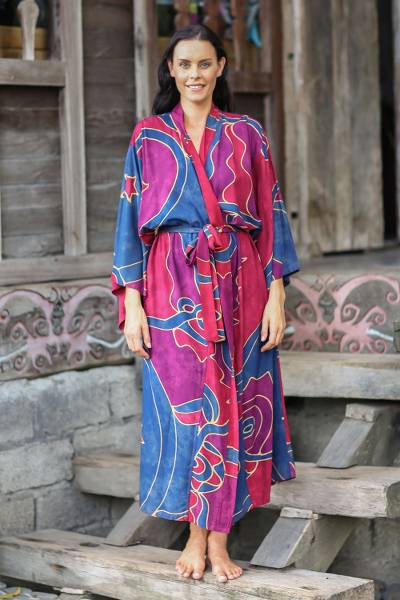 Women's batik robe, 'Exotic Blue' - Women's Batik Patterned Robe