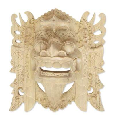 Lion God Mask Hand-carved Crocodile Wood
