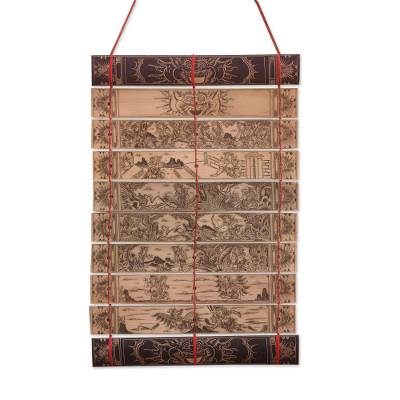 'Great Epic of the Ramayana II,' wall hanging - Handcrafted Palm Leaf Wall Hanging