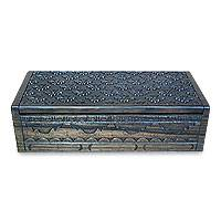 Ebony jewelry box, 'Lotus Bloom' - Ebony jewelry box