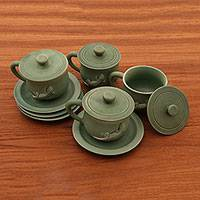Ceramic cups and saucers, 'Green Geckos' (set for 4) - Ceramic cups and saucers (Set for 4)