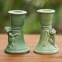 Ceramic candleholder, 'Mandrill' (pair) - Green Ceramic Monkey Candle Holders (Pair)