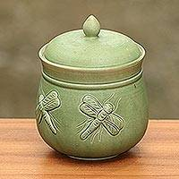 Ceramic jar, 'Balinese Dragonfly' - Dragonfly Green Ceramic Kitchen Jar Canister with Lid