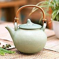 Ceramic teapot, 'Frog Song'