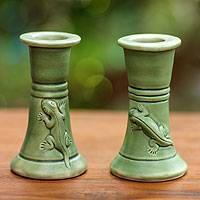 Ceramic candleholders, 'Hide and Seek' (pair) - Ceramic candleholders (Pair)