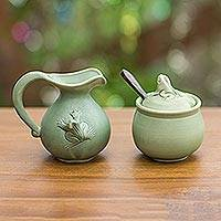 Ceramic sugar bowl and creamer, 'Fancy Frogs' - Fair Trade Ceramic Sugar Bowl and Creamer
