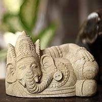 Sandstone statuette, 'Relaxing Ganesha' - Handcrafted Hindu Stone Sculpture from Indonesia