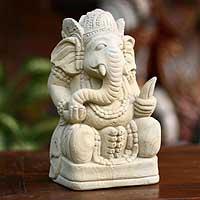Sandstone statuette,'Magnificent Ganesha II'  - Sandstone statuette