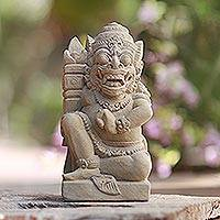 Sandstone statuette, 'Raksasa the Fierce Giant' - Unique Cultural Stone Sculpture