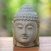 Sandstone bust, 'Lord Buddha' - Sandstone Sculpture from Indonesia