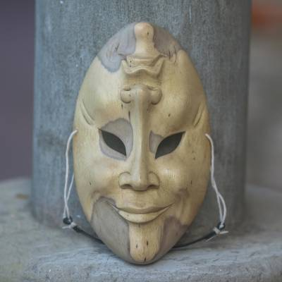Wood mask, 'Comedy and Tragedy' - Hand Carved Wood Mask