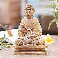 Wood statuette, 'Buddha Blessing' - Crocodile Wood Statuette